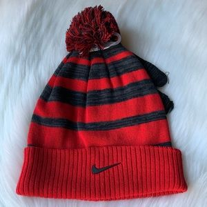 Nike Red & Grey Knit Cuff Pom Beanie & Gloves